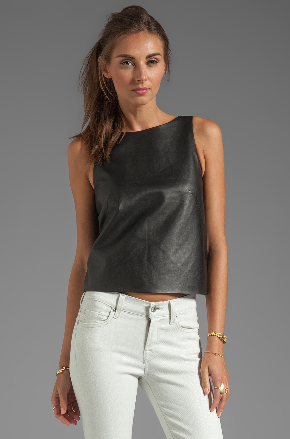 Tibi Leather and Ponte Crop Top in Black