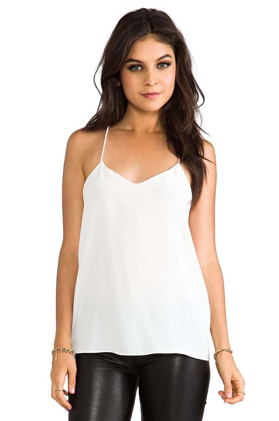 Tibi Silk Cami in White