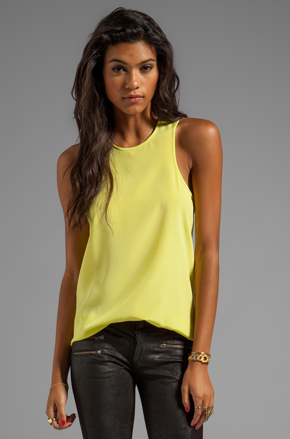 Tibi Solid Silk Cut Away Tank in Chartreuse