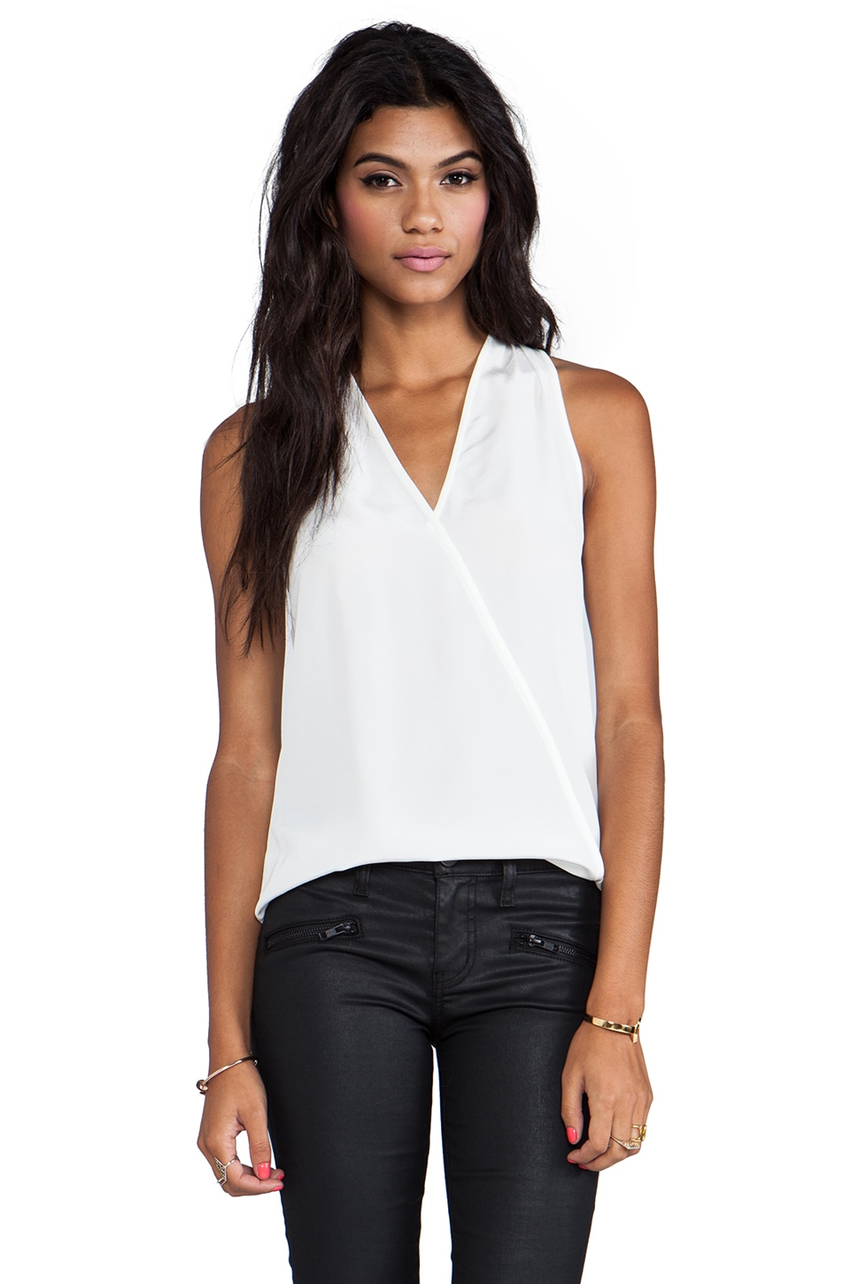 Tibi Solid Heavy Halter Top in Ivory
