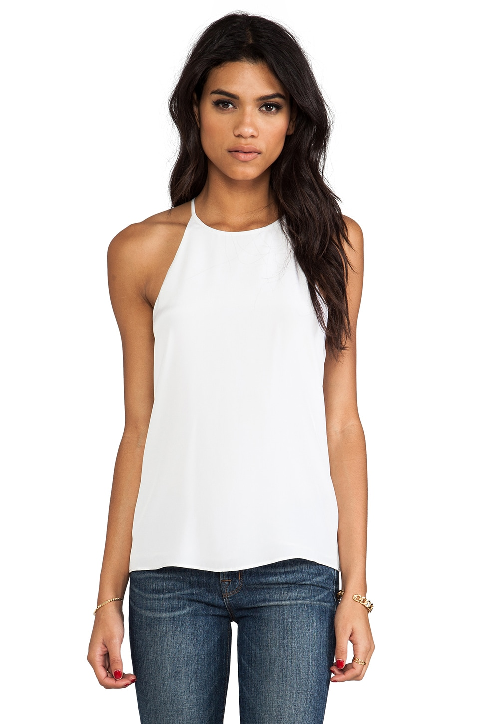 Tibi Silk Halter Cami in White