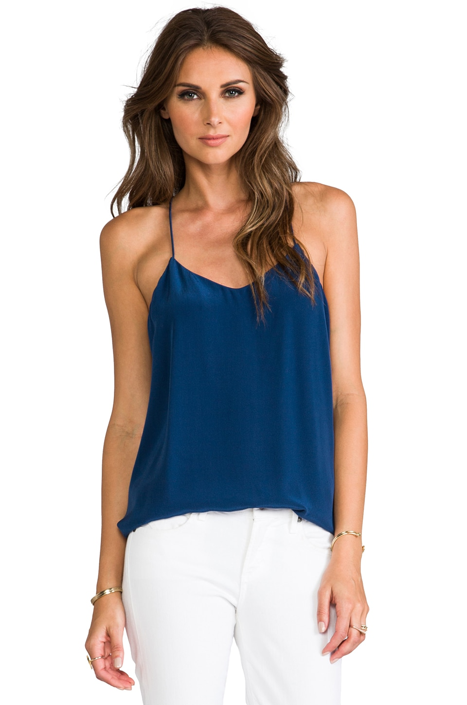Tibi Silk Cami in Navy
