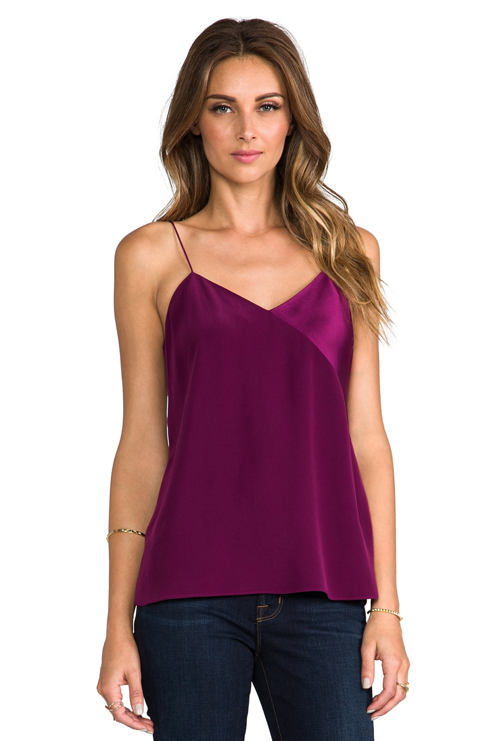 Tibi Satin Patchwork Cami in Plum