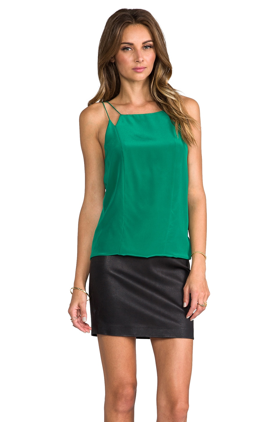 Tibi Strappy Silk Cami in Emerald
