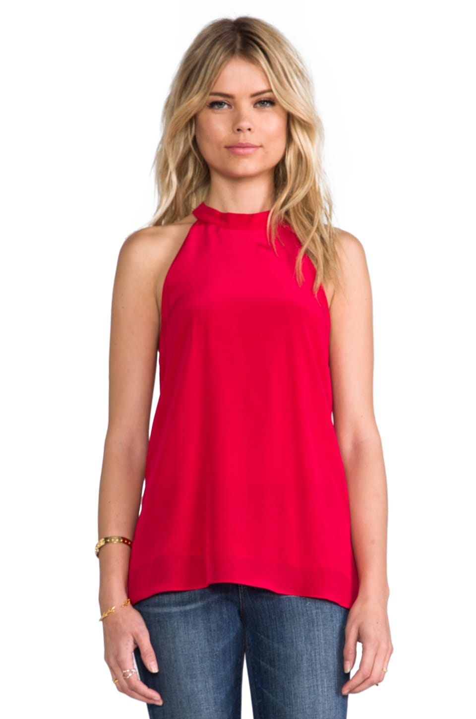 Tibi Halter Top in Lipstick Red
