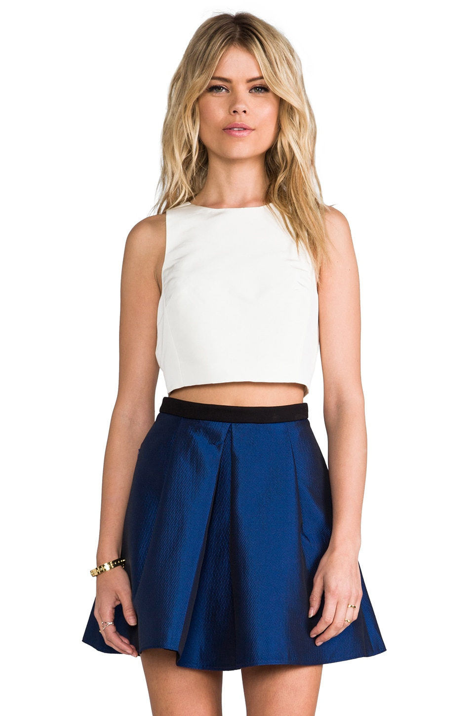 Tibi Cropped Silk Top in Ivory