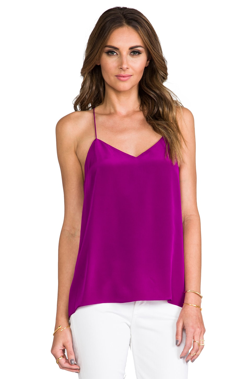 Tibi Silk Cami in Boysenberry