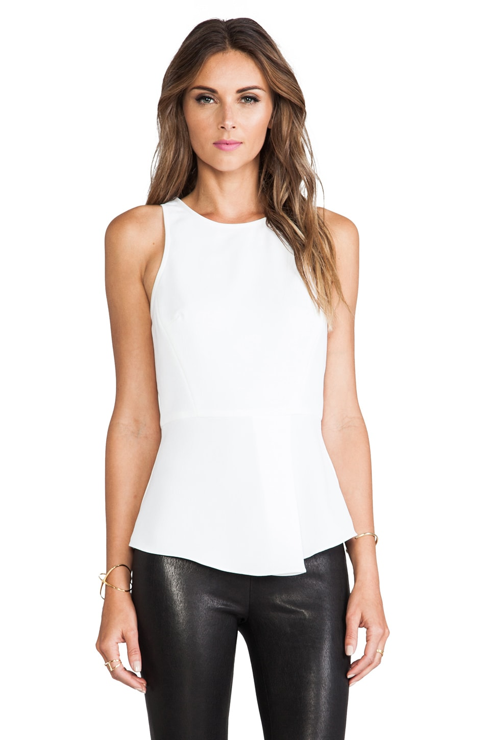Tibi Racerback Draped Top in Ivory