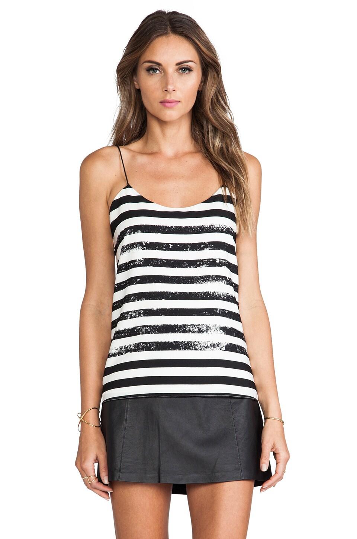 Tibi Distressed Stripe Cami in White & Black Multi