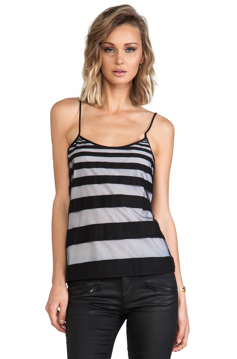 Tibi Striped Jacquard Tank in Black