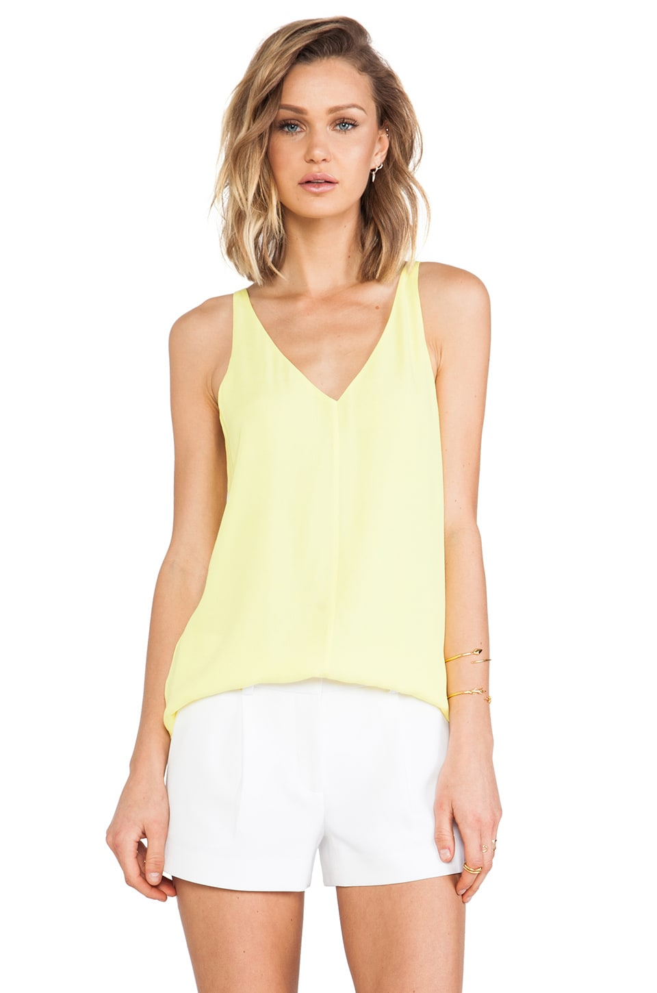 Tibi Drey Crepe Tank in Yellow