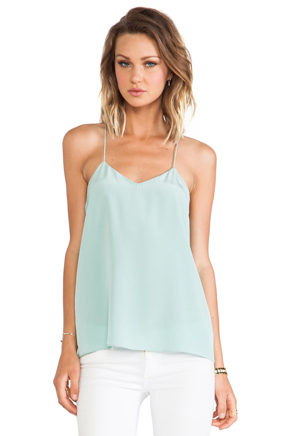 Tibi Solid Silk Cami in Lichen