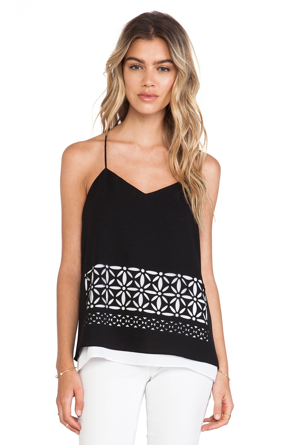 Tibi Fleur Cut Out Double Layered Tank in Black Multi