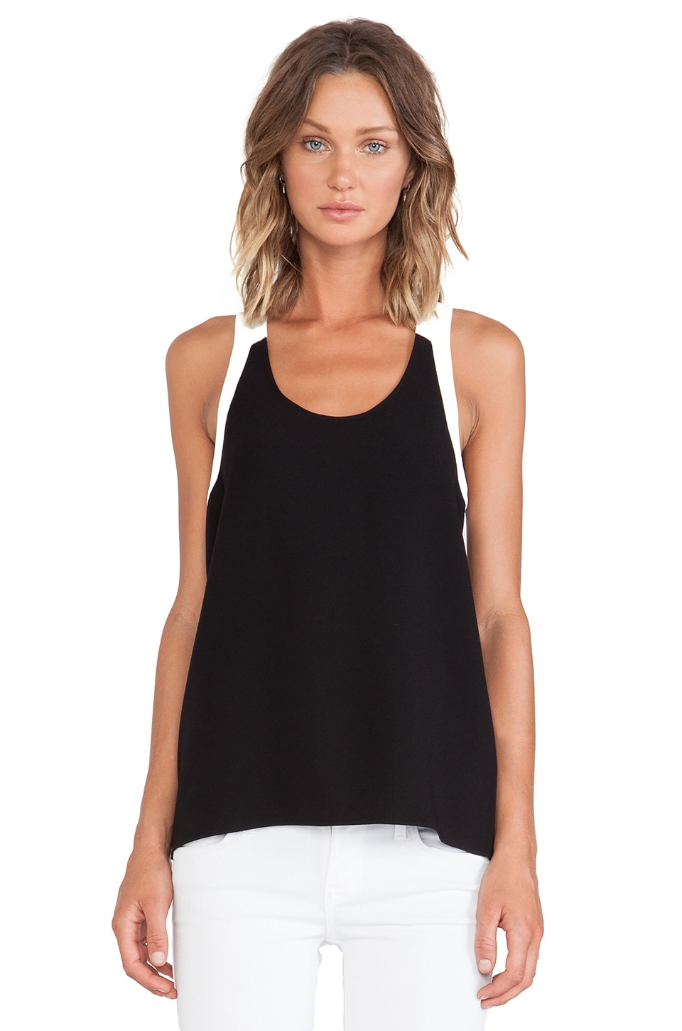 Tibi Arden Crepe Colorblock Tank in Black Multi