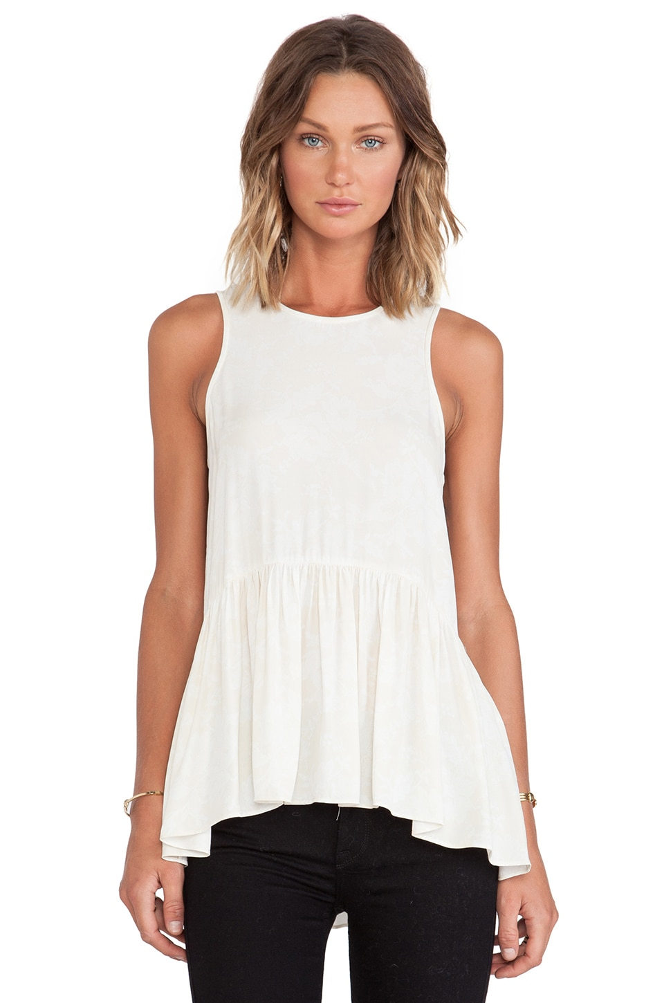Tibi Tapestry Print Racerback Top in Cream Multi