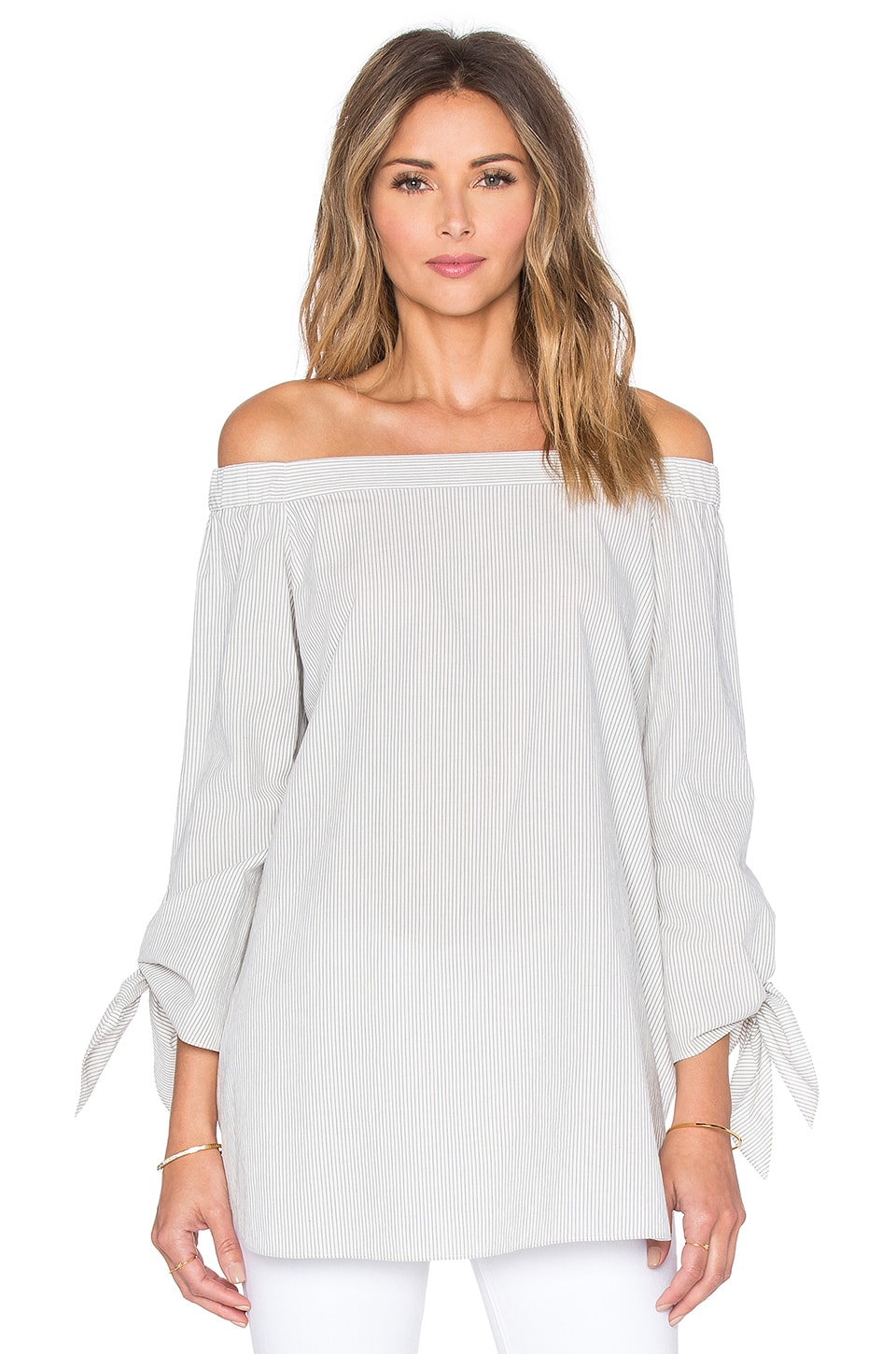 Tibi Off Shoulder Top in Grey Stripe