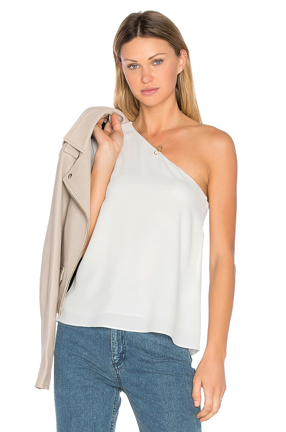 One Shoulder Ruffle Top by Tibi
