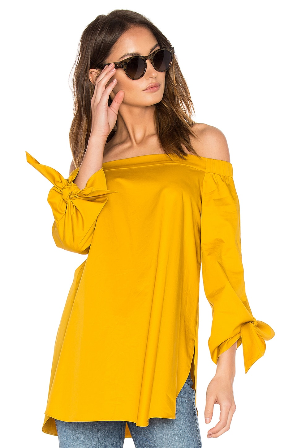 Tibi Off The Shoulder Tunic in Sinapis Yellow