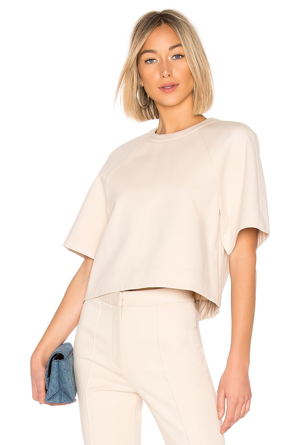 Tibi Raglan Short Sleeve Top in Light Stone