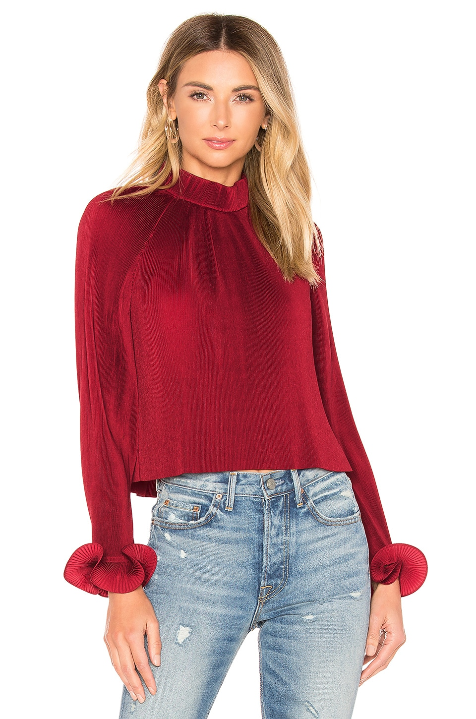 Tibi Pleated Top in Cherry Red
