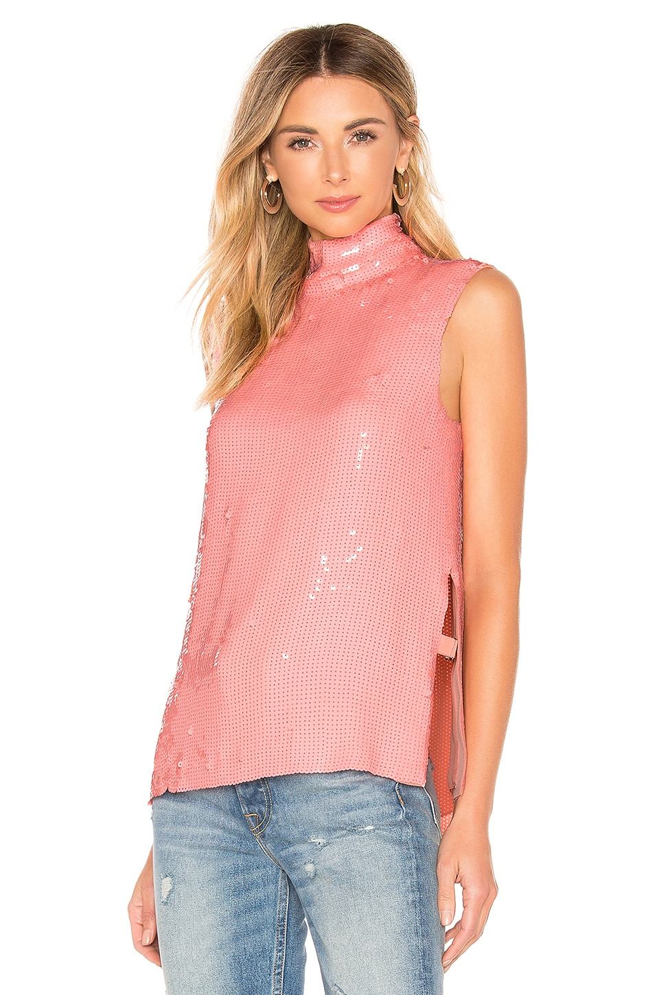 27ec087bea35bc Tibi Beaded Turtleneck Shell Top in Pink
