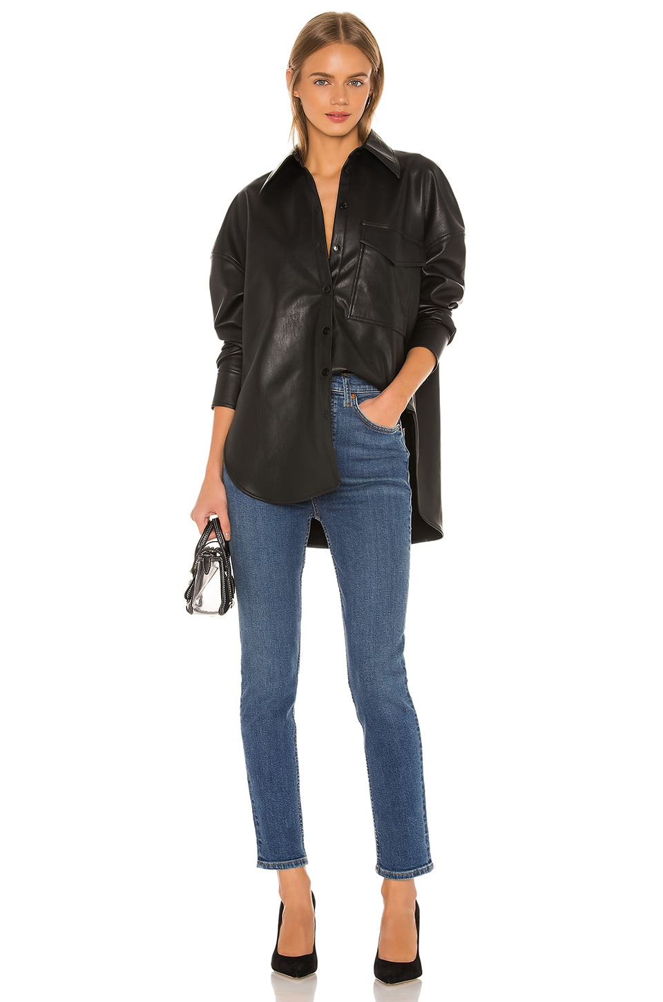 Tibi Faux Leather Relaxed Utility Blouse in Black