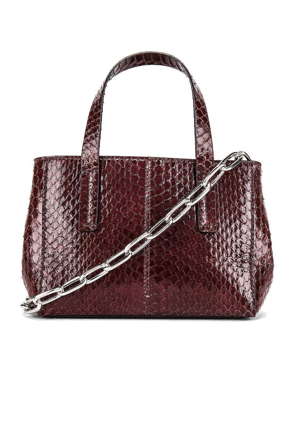 Tibi Le Client Chain Ayers Water Snake Mini Bag in Dark Brown