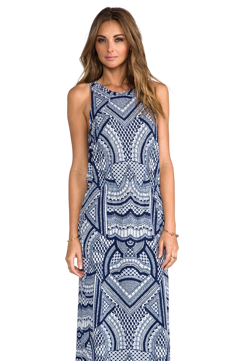 Tigerlily Goa Geo Midi Dress in Ink