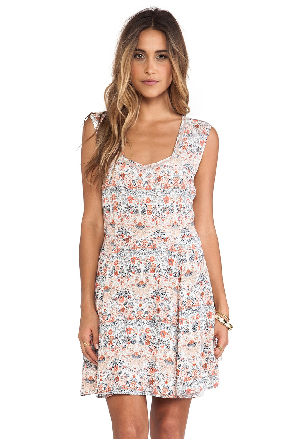 Tigerlily Italienne Floral Dress in Vanilla