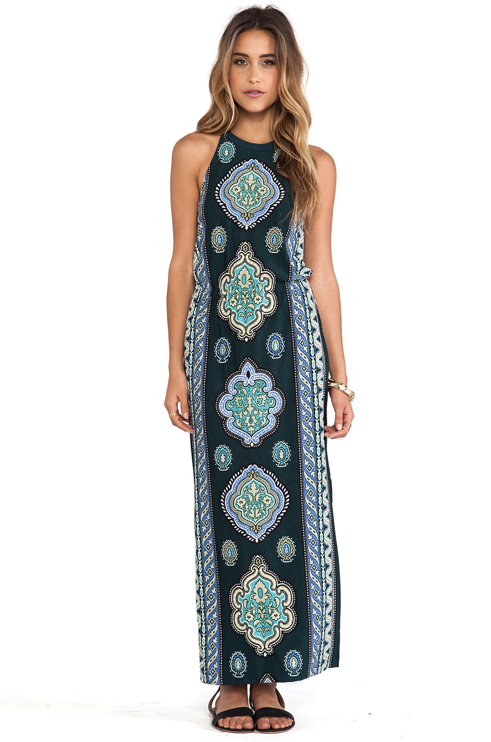 Tigerlily Mughal Midi Dress in Bottle