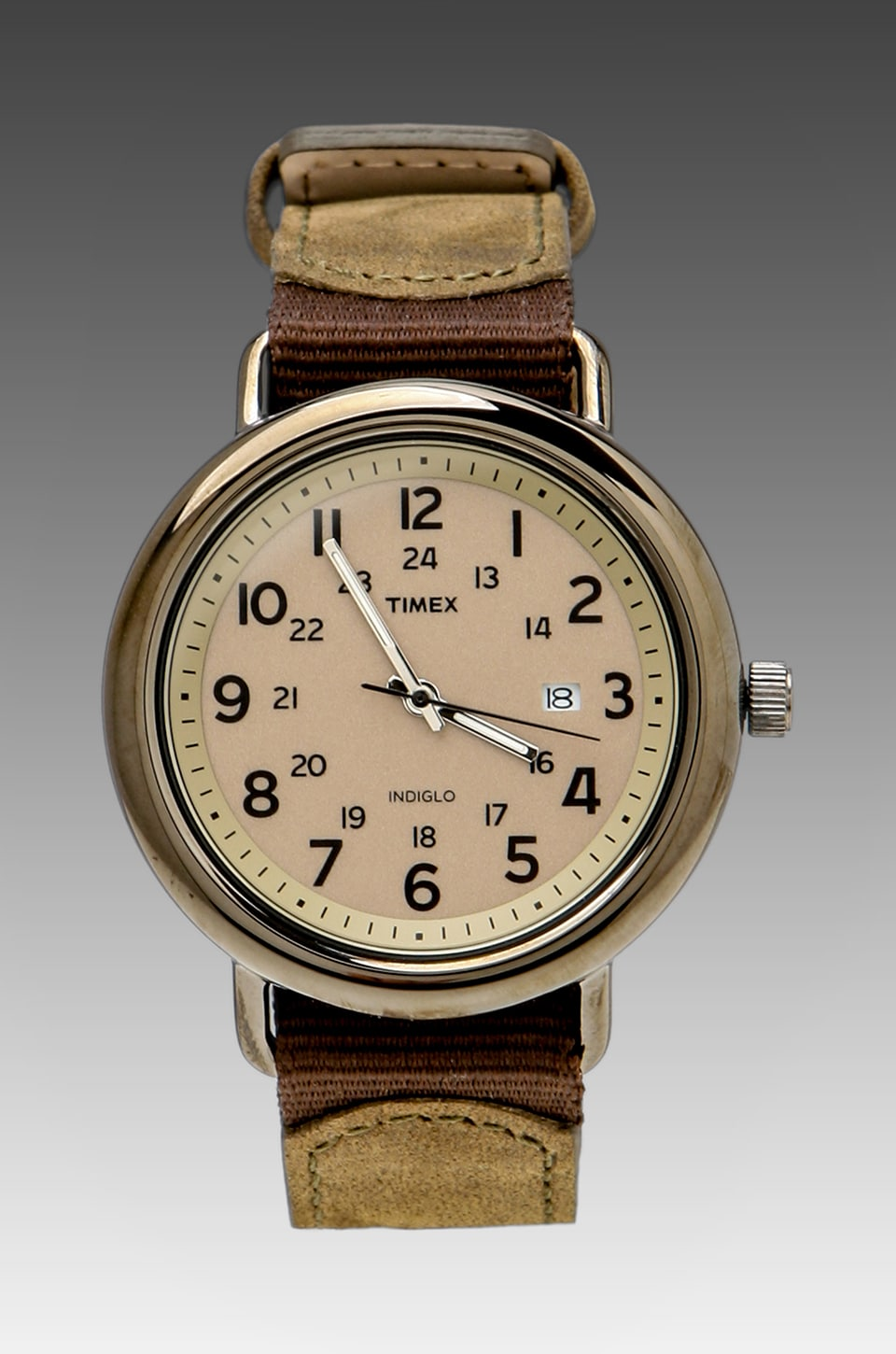 Timex Slip Thru 42mm in Gunmetal/Brown/Olive