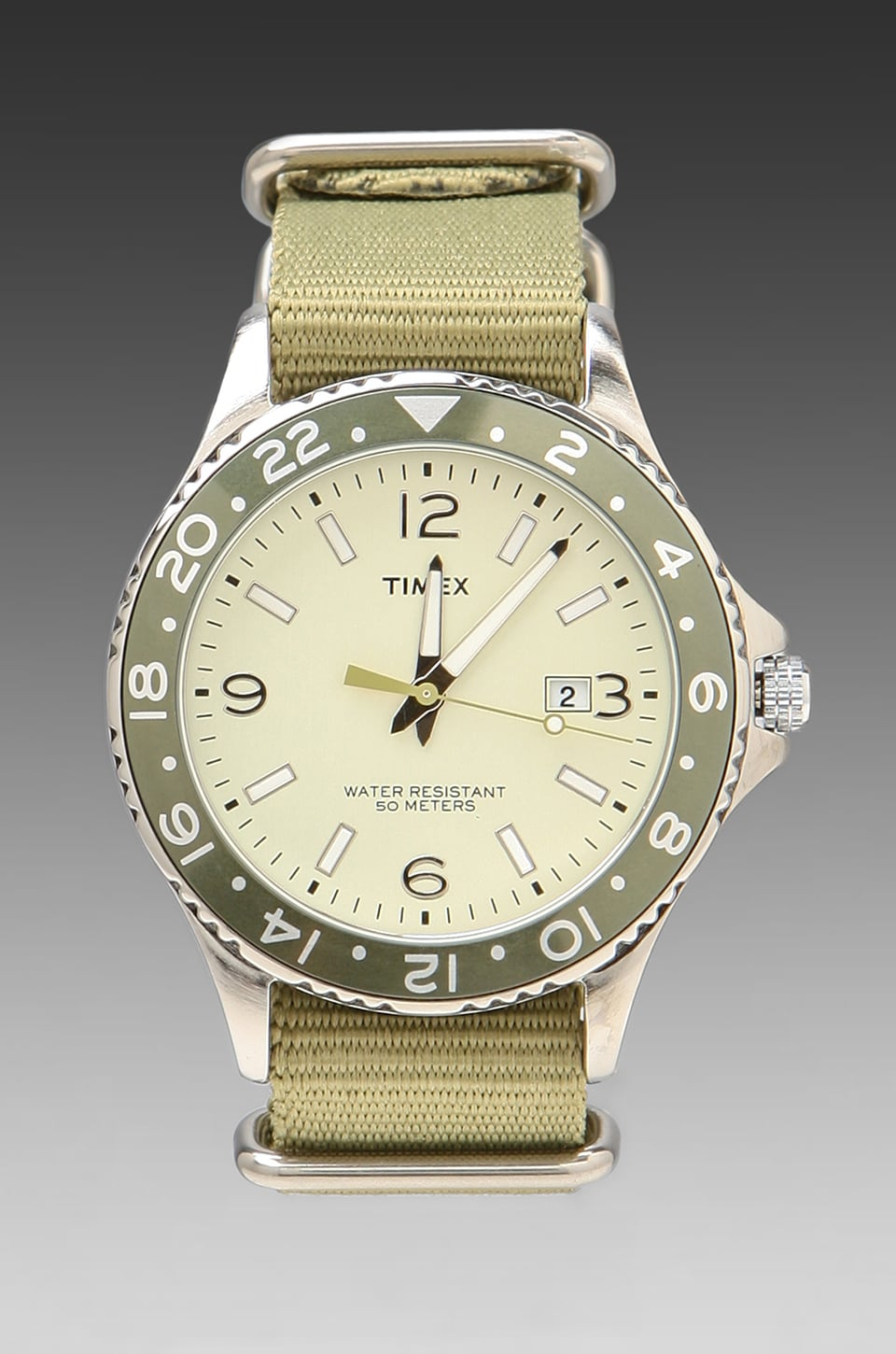 Timex Watch in Parchment w/ Green Strap