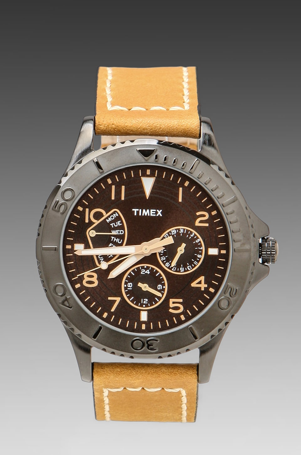 Timex Watch in Black w/ Tan Straps
