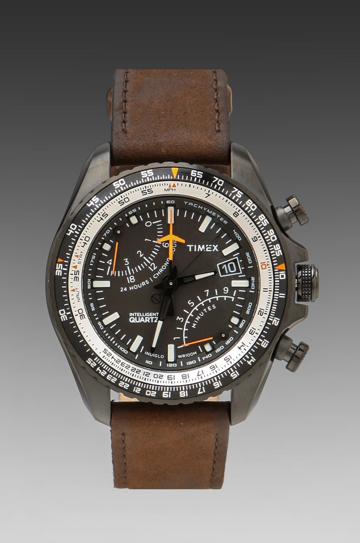 Timex Aviator Flyback Chronograph in Black w/ Dark Brown Straps