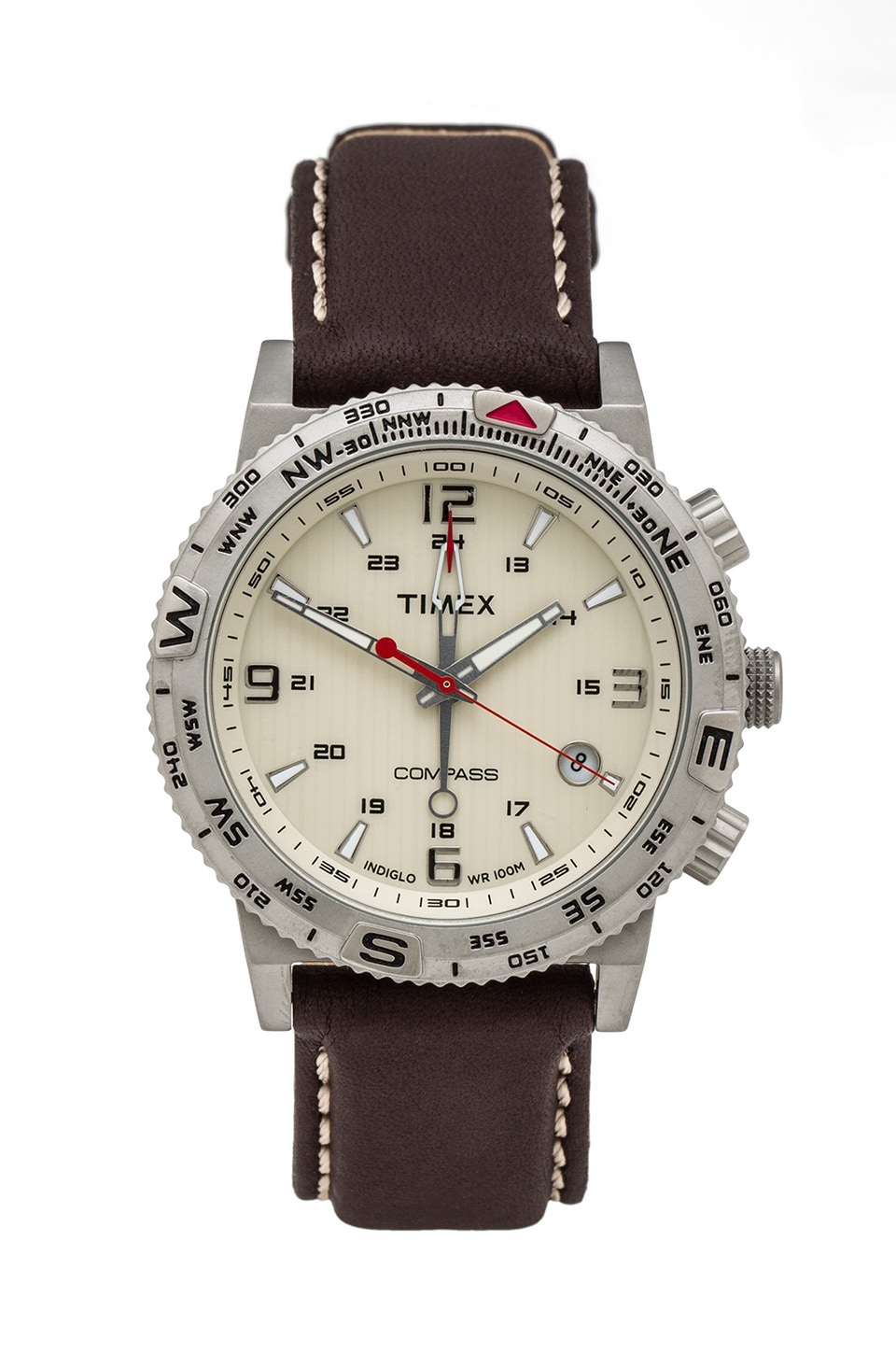 Timex Adventure Series Compass in Crme & Red & Brown