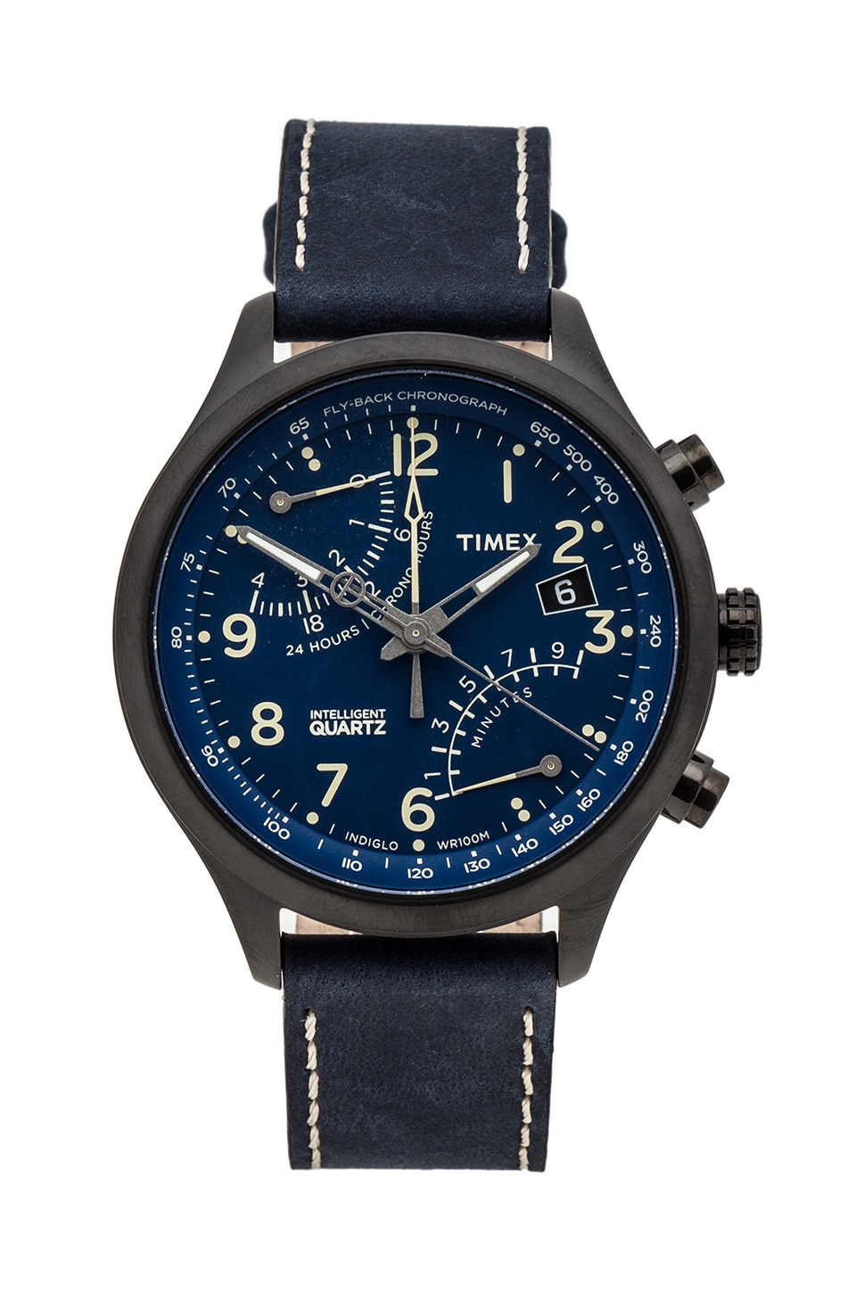 Timex Fly-Back Chronograph in Black & Blue &  Creme