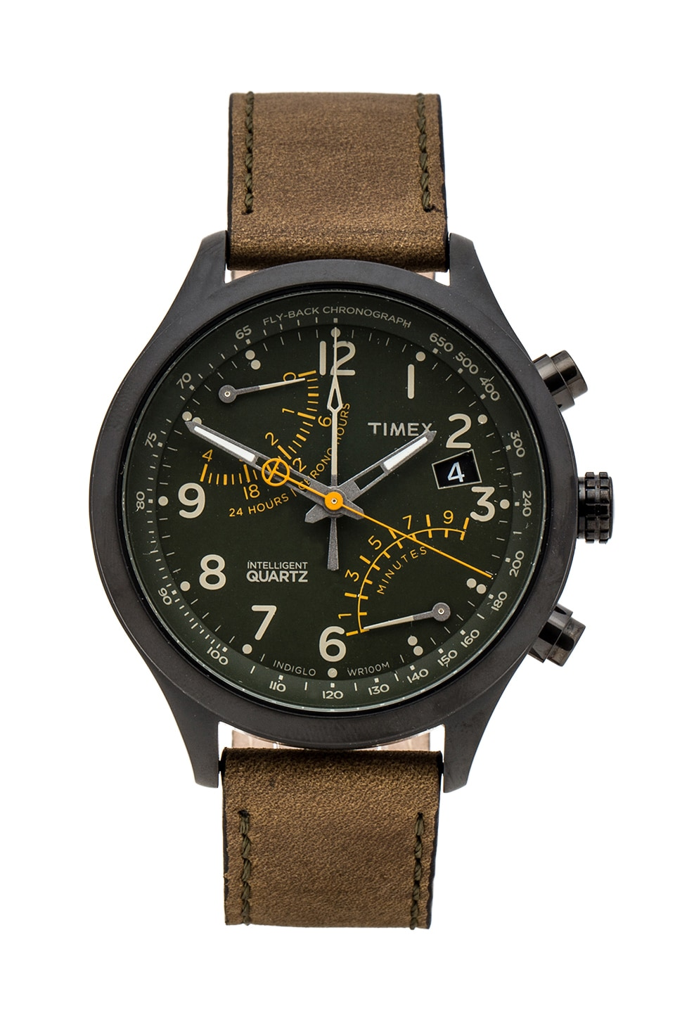 Timex Fly-Back Chronograph in Black & Olive & Orange