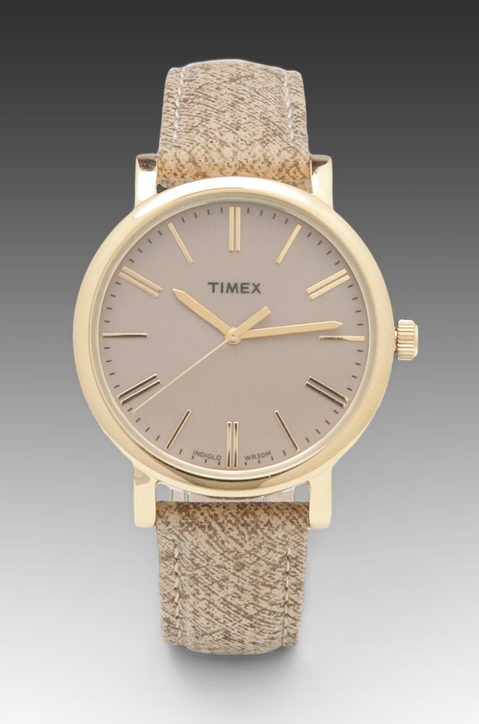Timex Originals Classic Round Watch with Braided Strap in Goldtone/ Taupe