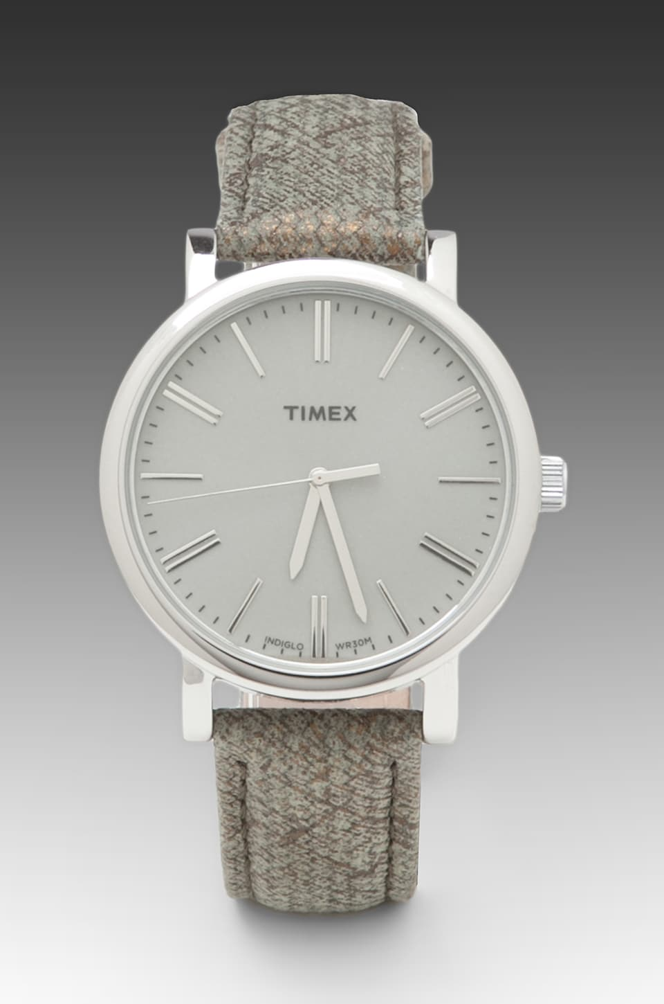 Timex Originals Classic Round Watch with Braided Strap in Silvertone/ Sage Grey
