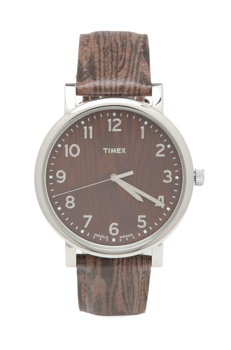Timex Originals Classic Round Wood Effect Watch in Silvertone/ Woodgrain