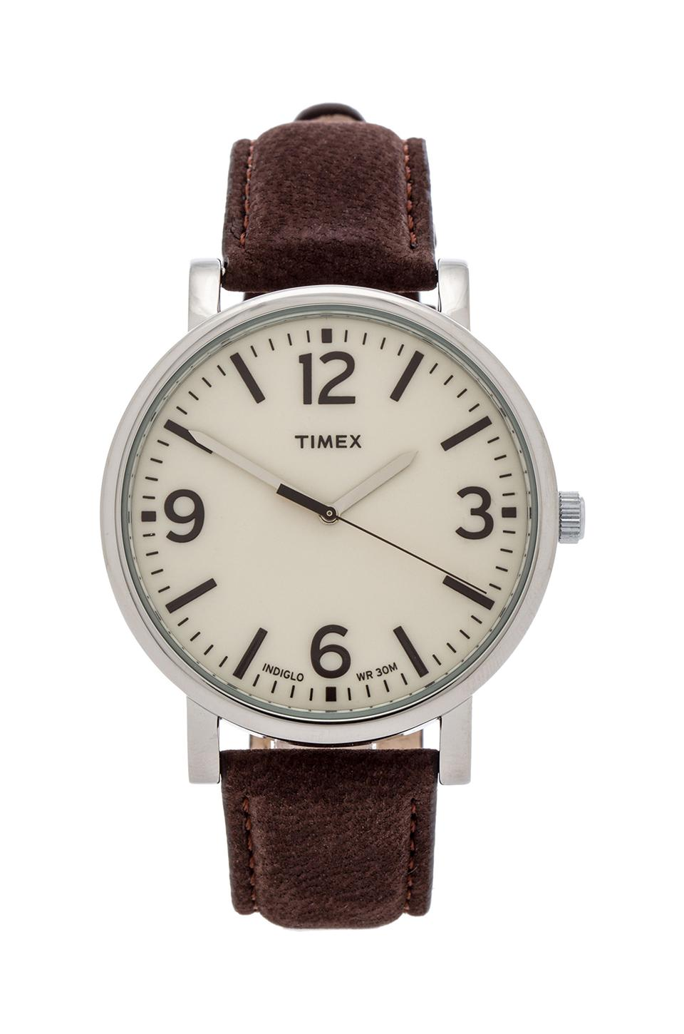 Timex Originals Classic Round 42mm in Silver & Tan & Dark Brown