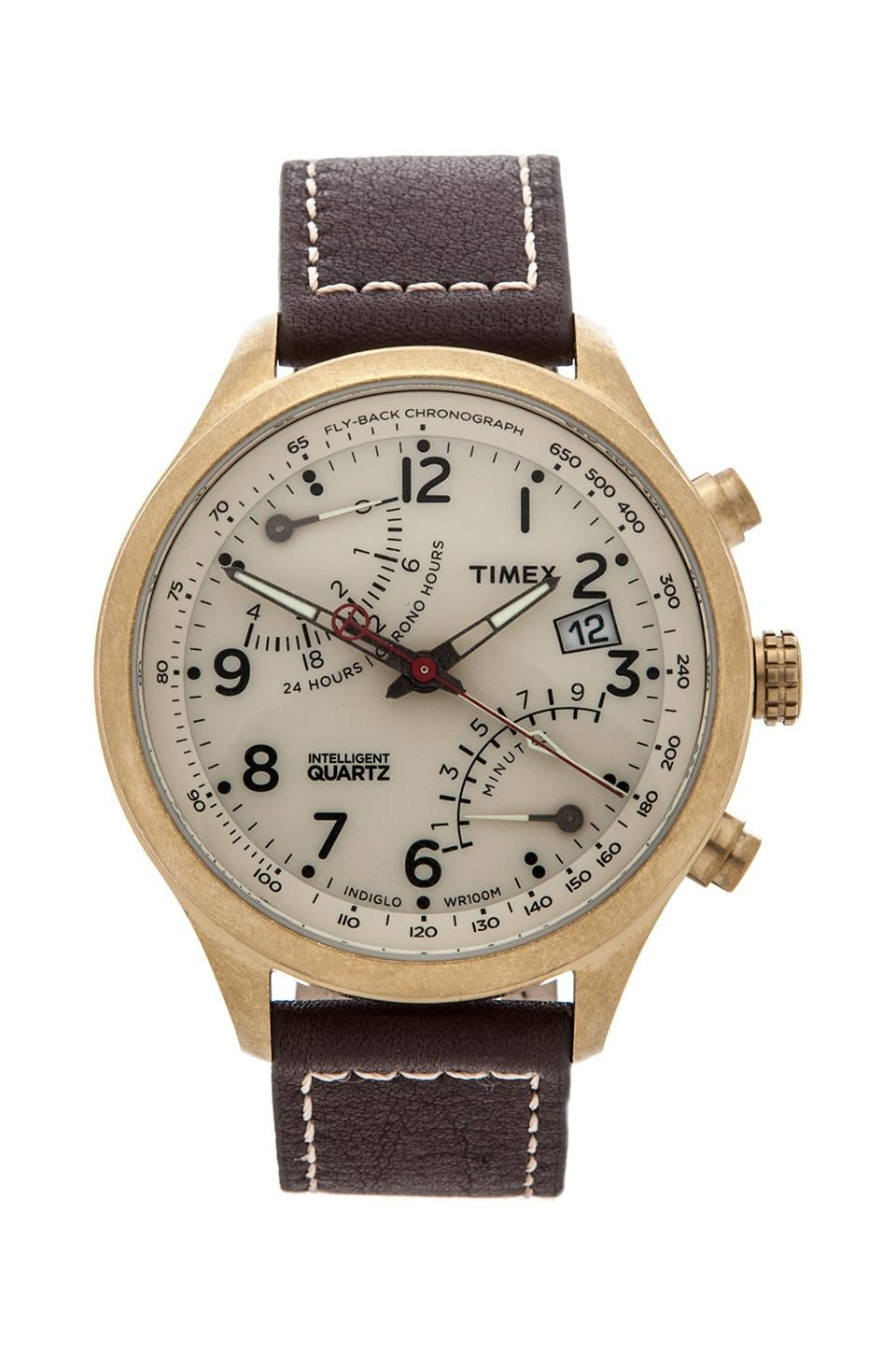 Timex Fly-back Chronograph in Vintage Gold/ Cream/ Brown