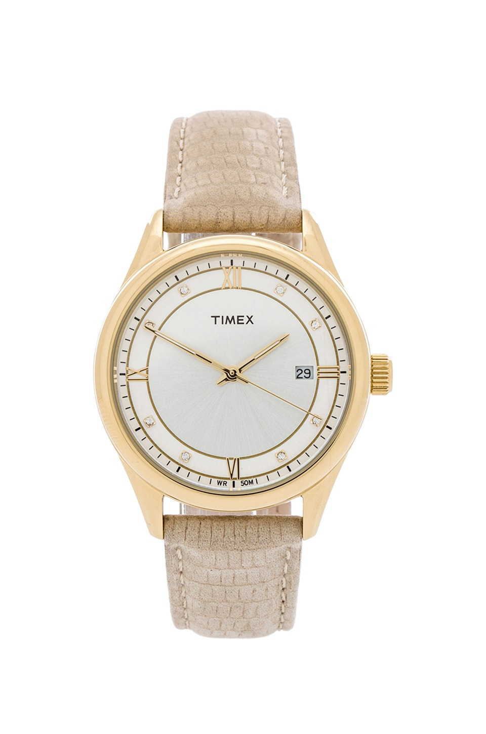 Timex Casual Dress Watch in Yellow Gold & White & Beige