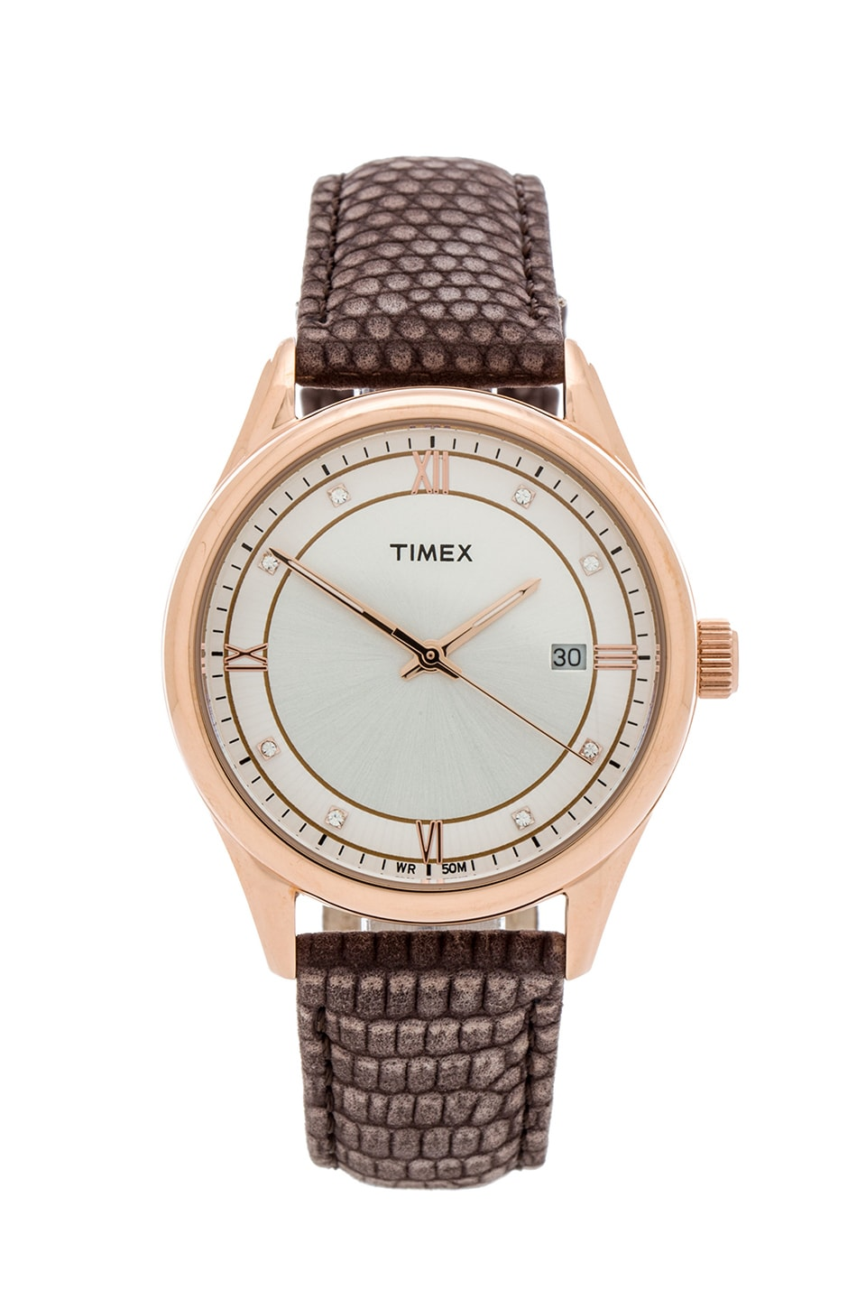 Timex Casual Dress Watch in Rose Gold&  White & Mocha