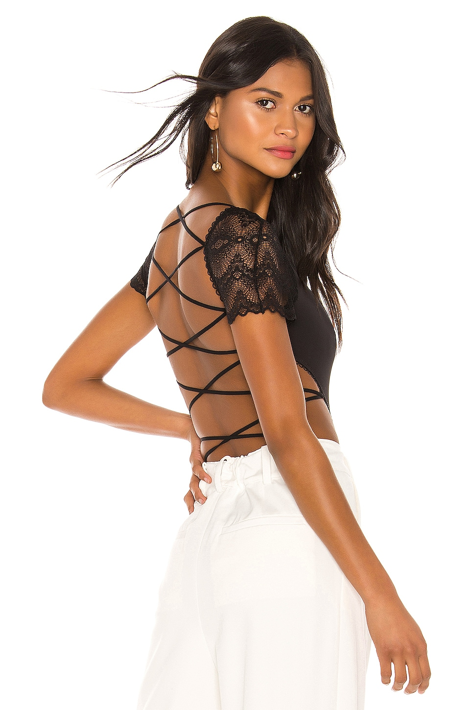 Thistle & Spire Essex Backless Lacing Bodysuit in Black