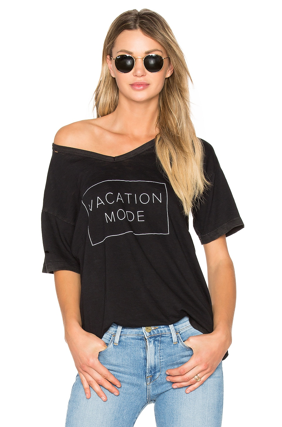 TYLER JACOBS Orly Vacation Mode Tee in Black Velvet