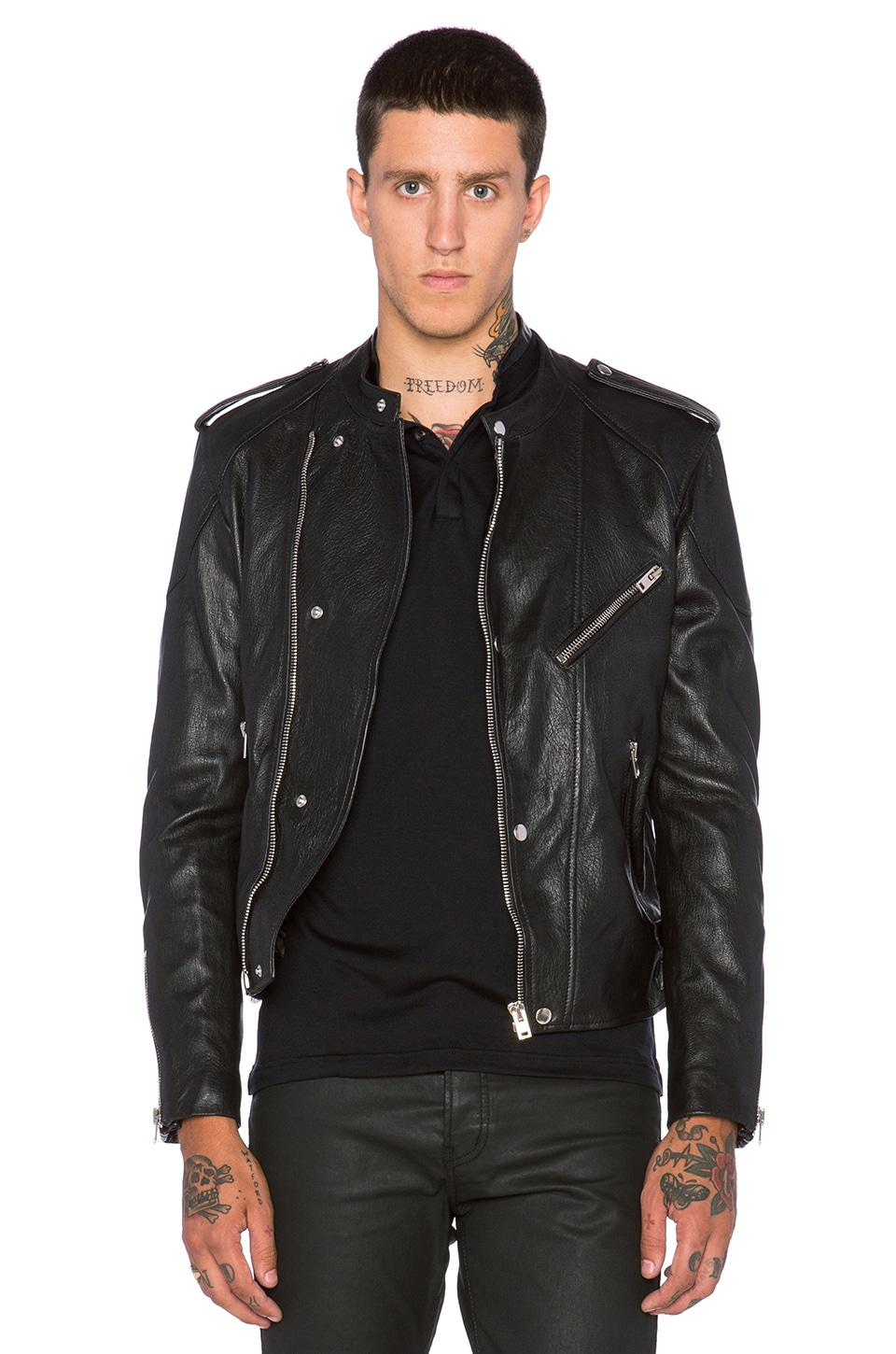 b2d8615185 The Kooples Washed Lamb Leather Motorcycle Jacket in Black | REVOLVE