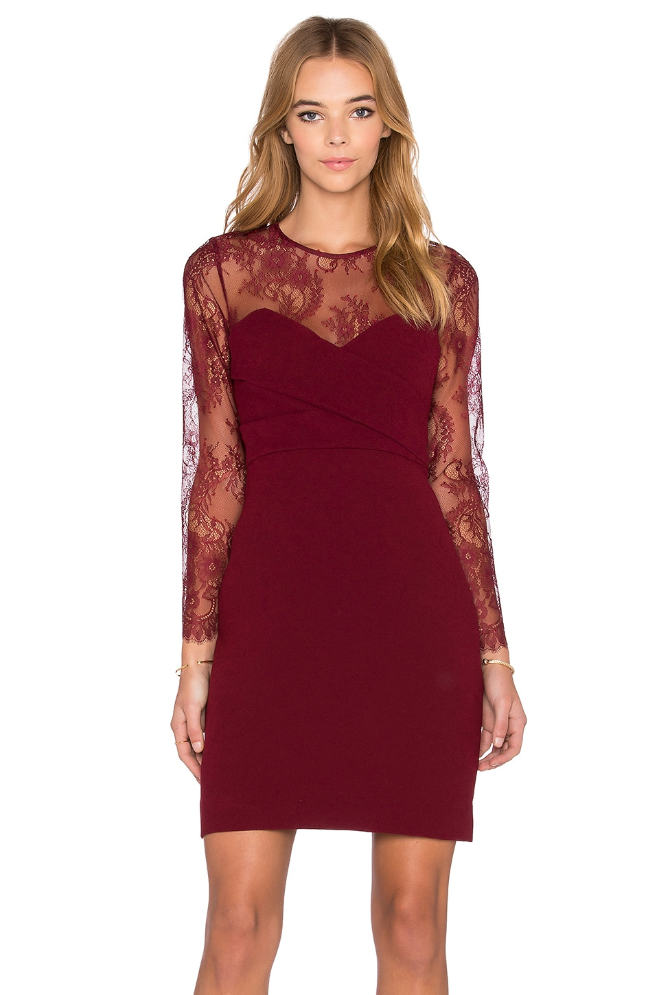 The Kooples Crepe & Lace Dress in Red