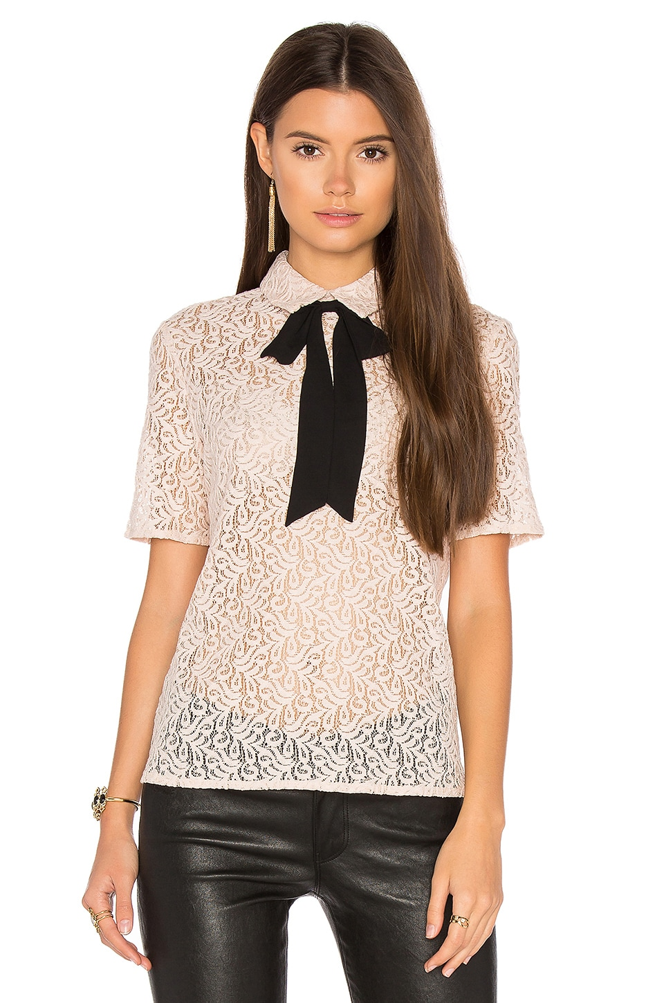 The Kooples Lace Tie Neck Top in Blush