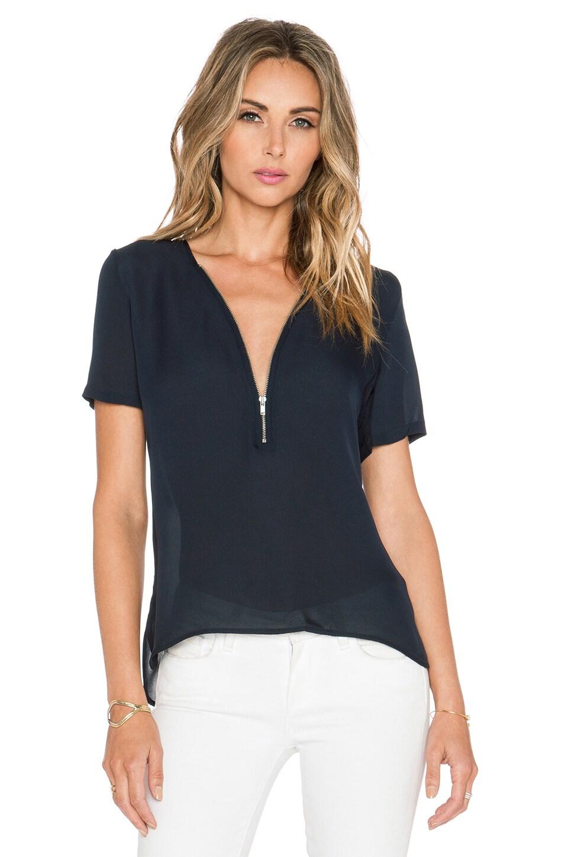The Kooples Short Sleeved Top with A Zip Neckline in Silk in Navy